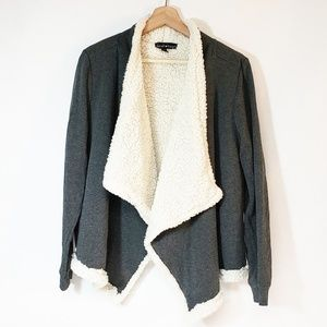 Derek Heart Large Sweater Gray Sherpa Cardigan